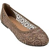 CLOVERLY Damen Ballettschuh Floral Breathable Crochet Lace Ballettschuhe, Braun (hautfarben), 39 EU