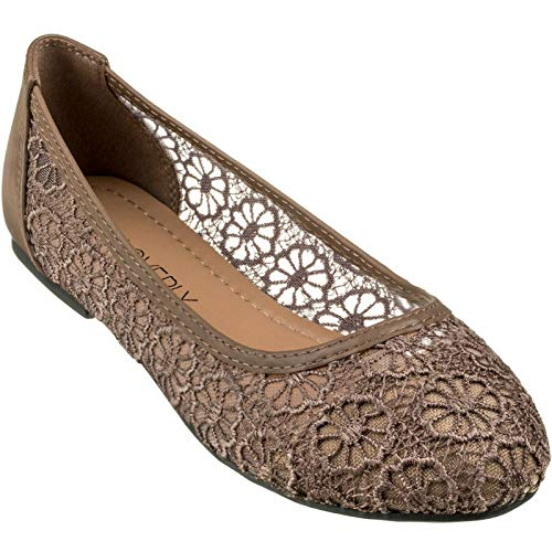 CLOVERLY Women's Ballet Shoe Floral Breathable Crochet Lace Ballet Flats (8 M US, Tan)