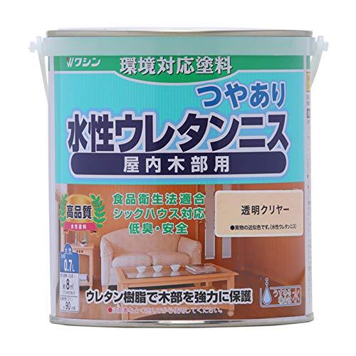 和信ペイント 水性ウレタンニス 透明クリヤー 0.7L 屋内木部用 ウレタン樹脂配合・低臭・速乾