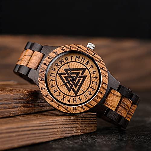YCYR Relojes Vikingos para Hombre, Reloj de Cuarzo con Símbolo de Runa Valknut de Mitología Nórdica, Regalo de Pulsera con Correa de Madera Ajustable Vintage Hecho a Mano