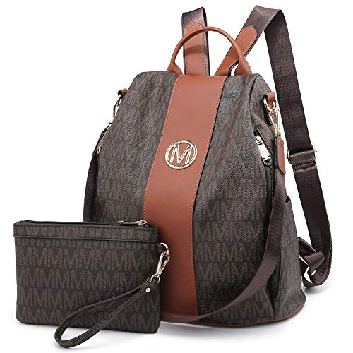 MKP Lightweight Women's Backpack Multi Zipper Pocket Signature College School Anti-Theft Rucksack Shoulder Bag Handbag for Women w/ Wristlet Wallet Set (Coffee)