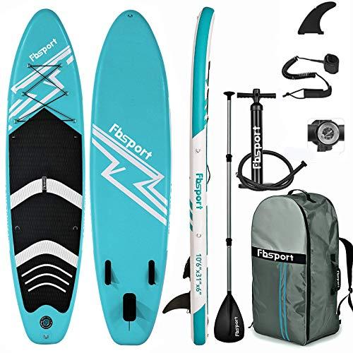 FBSPORT Tabla Sup Hinchable, Tabla de Stand Up Paddling, Tabla Paddle Surf Hinchable, Tabla de Sup, Tabla de Surf Kit con Remo de Aluminio+Bomba+Aleta Desprendible | Longitud: 320cm