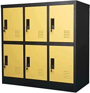 MECOLOR Armoire de rangement pour employés de bureau et de maison (jaune, W6D)