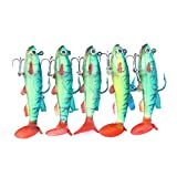DOGZI Kunstköder Gummifische Angeln for Zander Forellen Barsch, 5 Stücke 8 cm 14g Weichen Köder Lead Head Sea Fish Lockt Angelgerät Haken T Schwanz