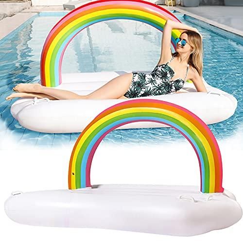 Hamaca inflable cómoda suave PVC arco iris nube gran espacio floatie salón para vacaciones agua fiesta piscina playa