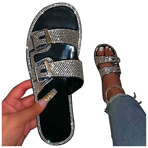 Sandals for Women Dressy Women's Wedge Platform Slide On Comfort Ankle Elastic Strap Sandal Buckle Shoes