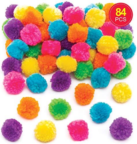Baker Ross Wollpompons in Neonfarben (Packung mit 84 Stück) Sparpaket in leuchtenden Farben Perfekt für Kunst- und Bastelprojekte für Kinder, zum Personalisieren oder zum Erstellen von Kostümen