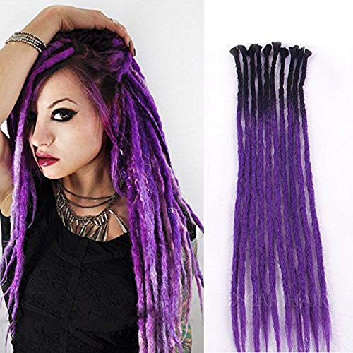 Dsoar 24 inch Dreadlock Extensions Ombre Black and Purple 10 Strands Synthetic Dreads Reggae Handmade Corchet Braiding Hair