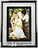 Pavilion Gift Company 85116 Glorious Occasions - Our Engagement White Crystal Mirrored 4x6 Picture Frame [並行輸入品]