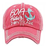 Boat Hair Don't Care Women's Vintage Cotton Baseball Hat (Pink)