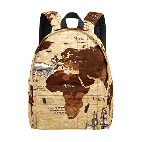 Backpack Boy Girl Daypack,Retro Map Kids Backpack School Bookbag Travel Bag Casual Rucksack Gift