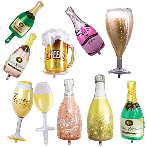 10pcs Palloncino in Alluminio, Autosigillante Palloncino Champagne, Riutilizzabile Grande Vino Palloncino Bottiglia, Birra Palloncini Lamina per Forniture Feste Celebrazione Matrimonio Compleanno