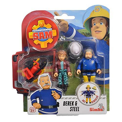 Simba Derek & Steele | Feuerwehrmann Sam | Spiel Figuren Set Toys