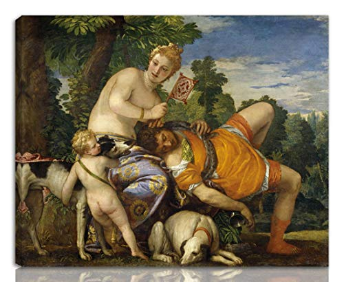 Berkin Arts Paolo Veronese Gedehnt Giclee Auf Leinwand drucken-Berühmte Gemälde Kunst Poster-Reproduktion Wand Dekoration Fertig zum Aufhängen(Venus und Adonis 2)#NK