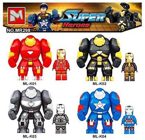 SuperHeroes Lote 4 Figuras DC Marvel Super Heroes Iron Man Estilo Jueg