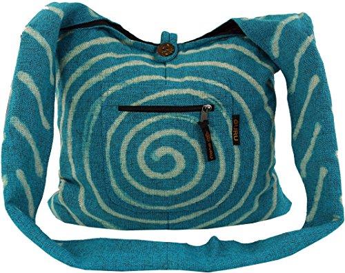 Guru-Shop Sadhu Bag Spirale - Blau, Herren/Damen, Baumwolle, Size:One Size, 40x40x10 cm, Bunter Stoffbeutel