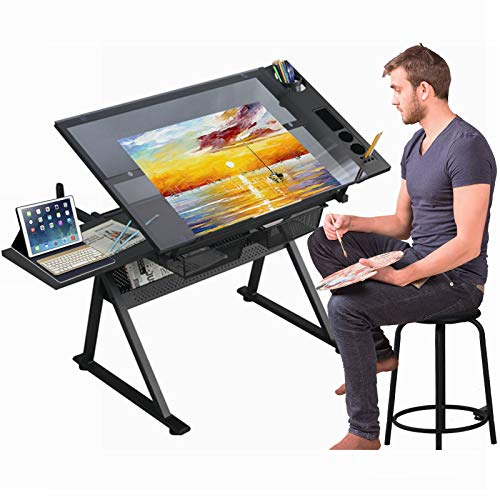 Gynsseh Glass Drafting Table, Height Adjustable Drawing Desk with Stool, 75° Tiltable Glass Tabletop Multi-Functional Art Craft Artists Desk with 2 Storage Drawers for Home School (Black)