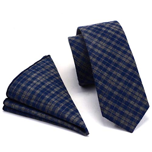 GUSLESON Mens Gray Blue Plaid Tie Thin Cashmere Cotton Skinny Necktie and Pocket Square Sets...