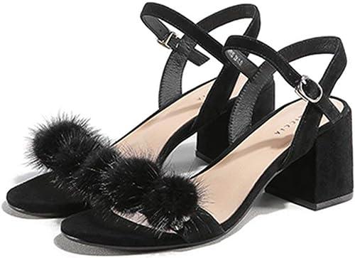 BMY Sandales Printemps et Eté Femme Boucle Mot Givré Bout Bout Ouvert Talon Haut Talon épais Chaussures Décontracté (s) (Couleur  A, Taille  EU36   UK3.5   CN35)  il y a plus de marques de produits de haute qualité
