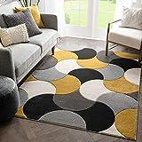 Well Woven Hilda Gold Modern Geometric Circles & Boxes Pattern Area Rug 8x10 (7'10' x 10'6')