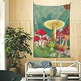 Cottagecore - Tapices de pared de rana y champiñones estéticos para decoración de habitación, decoración de hongos, linda decoración de habitación, tapiz de 200 x 60 pulgadas