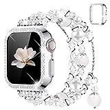 wlooo Cinturino per Apple Watch 38 mm 40 mm 42mm 44mm, Donna Ragazza Elastico Cristallo Perla Cinturini di Ricambio Cinturino & Glitter Diamond Cover per Serie iWatch 6 SE 5 4 3 2 1 (Argento, 44mm)