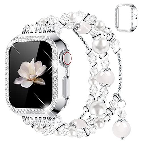 wlooo Cinturino + Glitter Diamond Cover per Apple Watch Band 38 mm 40 mm 42mm 44mm, Donna Ragazza Elastico Cristallo Perla Cinturini di Ricambio Cinturino per Serie iWatch 6 SE 5 4 3 2 1 (40mm)