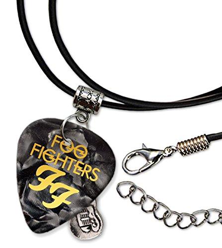 Foo Fighters Chitarra Plettro Cord Necklace Collana Black Pearl ( GHF )