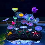 Saim Glowing Effect Artificial Lotus Root, Leaves and Flowers for Fish Tank Decoration Plastic Aquarium Ornament