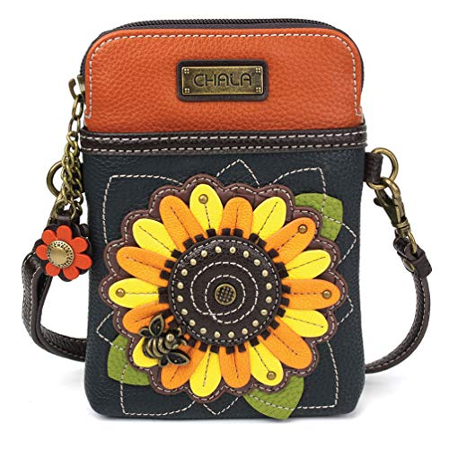 Chala Crossbody Cell Phone Purse - Women PU Leather Multicolor Handbag with Adjustable Strap - Sunflower Navy