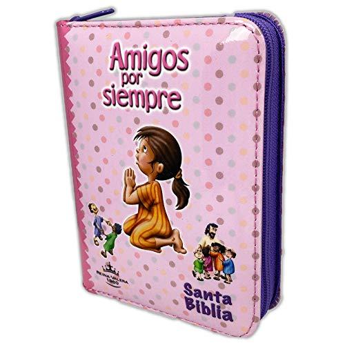 Biblia RVR 1960 Amigos por Siempre Acolchada Rosa con Cierre