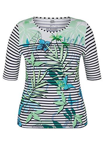 Rabe Damen T-Shirt mit Allover-Ringeln und Blumen-Print