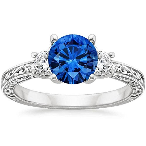 RS JEWELS 18K White Gold Plated Sapphire Antique Scroll Three Stone Trellis Ring (1/3 ct. tw.) (J 1/2)