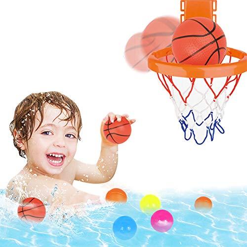 Bad-Spielzeug-Basketballkorb, Badewanne mit Wasser Spielset, Badewanne Shooting Game Sets mit Strong Saugern und 3 Bällen inklusive für Kinder, Mädchen, Junge, Kleinkind