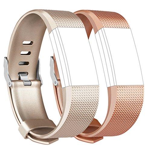 Tobfit für Fitbit Charge 2 Armband, Ersatz Silikon Sport und Fitness Armbänder für Fitbit Charge 2 (Kein Uhr) (S, Klassische 2-Pack Gold+Rose Gold)