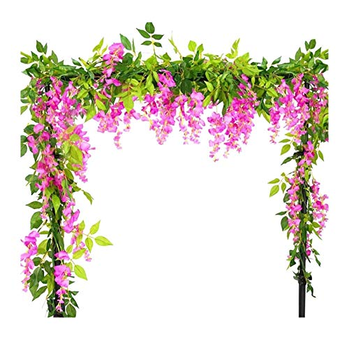 X-LSWAB 2Pcs 12Ft/Pcs Artificial Wisteria Vine, Flower Garland Wisteria Vine Rattan Hanging Flowers Arts For Outdoor Ceremony Wedding Garden Home Party (Color : Pink)