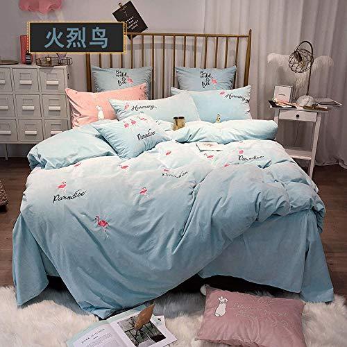RESUXI Bettwäscheset aus Samt Luxuriöses, weiches, festes Bettwäscheset,Winter Dicke Daunendecke, Prinzessin Koralle warme Bettwäsche doppelseitige Fleece Bettbezug-Q_2,0m Bett 4 Stück