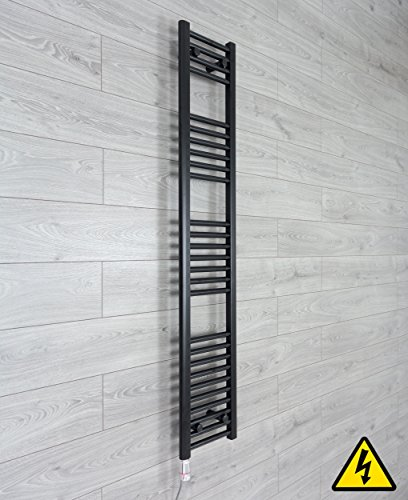 companyblue thermostaat handdoekradiator, elektrisch verwarmd, 300 mm breed, zwart 1600 x 300 mm mat zwart