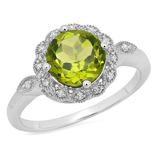 Damen Ring 18 Karat Weißgold Rund Echte Peridot & Diamant Damen Halo Vintage Verlobungsring