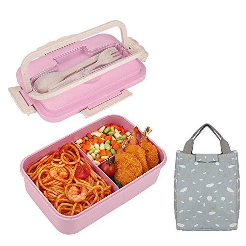 HALOVIE Lunchbox, 1000ml Bento Box für Kinder und Erwachsene Bento Box mit 3 Fächern und Besteck, Brotdose Mikrowelle Heizung