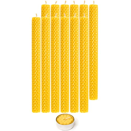 Beeswax Taper Candles 100% Natural Honey Comb Hand Rolled Dripless Eco-Friendly Smoke and Soot Free Tea Candle Gift Box