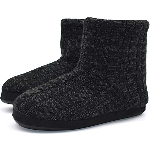 KuaiLu Kaschmir Strickpantoffeln Baumwolle Herren Hohe Hausschuhe warm Indoor-Schuhe Rutschfest,Reines Schwarz,45 EU (UK 11 US 12)
