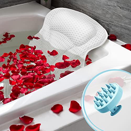 buonson Cuscino Vasca da Bagno 4D Mesh con 6 Ventose Gratis Spazzola Massaggia Testa Cuscino Poggiatesta Ergonomico per Tutti i Tipi di Vasca