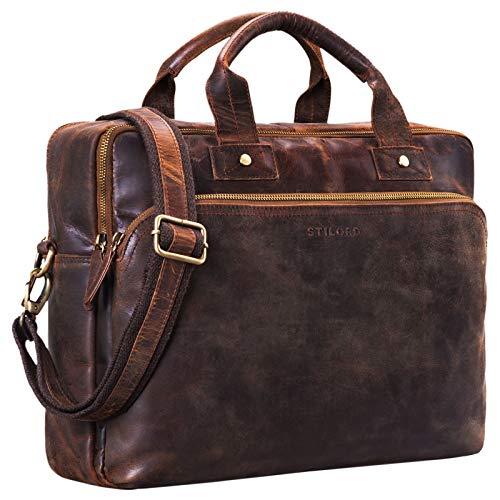 STILORD 'Hector' Grote zakelijke lederen tas voor mannen Vintage schoudertas met 15,6 inch laptopvak Leren aktetas DIN A4 in XL formaat, Kleur:zamora - bruin