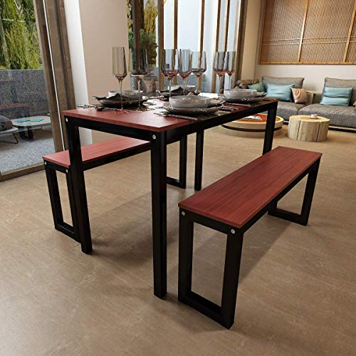 Hironpal 3 Pieces Dining set Wood Table with 2 benches Kitchen Dining Room Furniture, 111 x 56 x 75 cm (L x D x H), 100 x 25 x47 cm(L x D x H) Walnut Chipboard Metal Legs