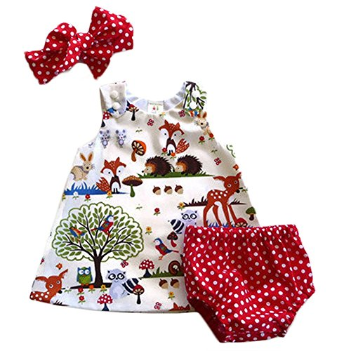 Collager Newborn Baby Girls Sleeveless Cute Forest Summer Dress Shorts Bottom Outfits with Headband, Red, 0-6 Months