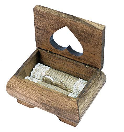 Happy Wedding Art Holz Ringbox mit Spitze Vintage Jute Ringkissen Ringträger Vintage Hochzeit Eheringe Box Ringschatulle Ringschachtel Ring Security Ringkasten Rustikale braun Ringkissen Braut Box