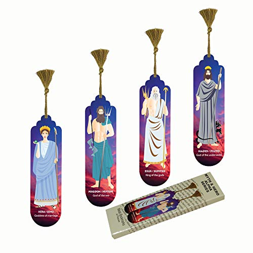 Pictor Gift Myth and Hero Decorative 4 Piece Bookmark Set, Artwork Metal Pressed with Suede Back (Myth and Hero Alpha Series)