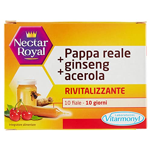 Nectar Royal Integratore Alimentare Pappa Reale Ginseng Acerola Vitarmonyl, 10 Fiale