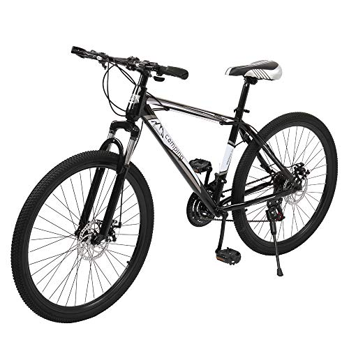 Mountain Bike Steel Frame 26 Inch 21 Speed Dual Disc Brake Bicycle Black&White
